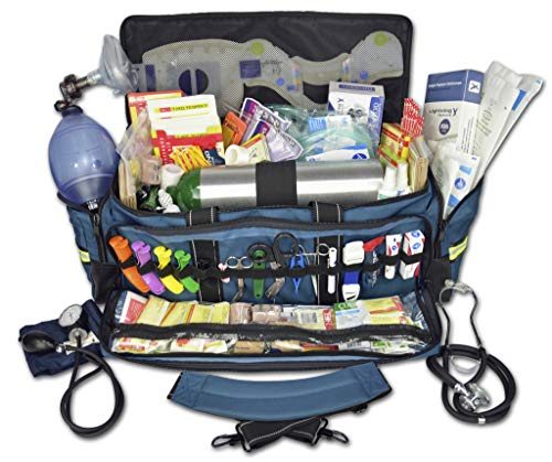 Lightning X O2 Trauma Bag w/EMT First Responder Stocked Fill Kit D  Blue
