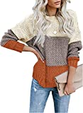 Lovezesent Womens Striped Color Block Chunky Sweaters Long Sleeve Crewneck Knitted Pullover Jumper Tops Yellow Medium by