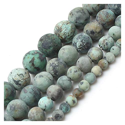 HETHYAN Perlas redondas de piedra turquesa natural mate mate para hacer joyas, collar de pulsera de 4/6/8/10 mm (tamaño: 8 mm, 48 unidades)