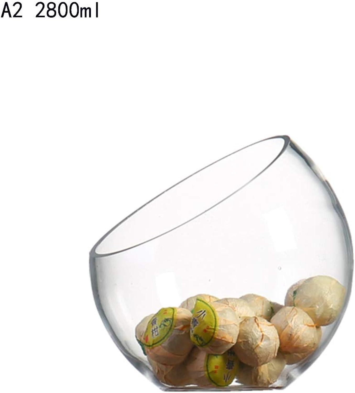 WUYAO Assiettes à Fruits en Verre créatif Bol à Salade inclinée Assiette de Fruits Plat de Service Pot Chaud Pot Magasin Vaisselle Vaisselle Bol présentoir de Fruits (Couleur   A2)