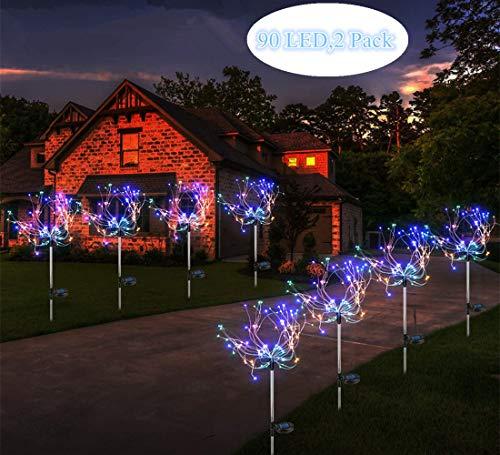 Sunboia 2x90Led Luces solares de Fuegos Artificiales,Luces solares de Estrellas,Luces de Alambre de Cobre para Exteriores,para Bodas,Fiestas,decoración de Navidad,Colorido