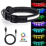 LED Safety Dog Collars - USB Rechargeable 7 Changing Colors Light Up Dog Collar Water Resistant Adjustable Night Safety Collar, Makes Your Dog Visible, Safe & Seen
