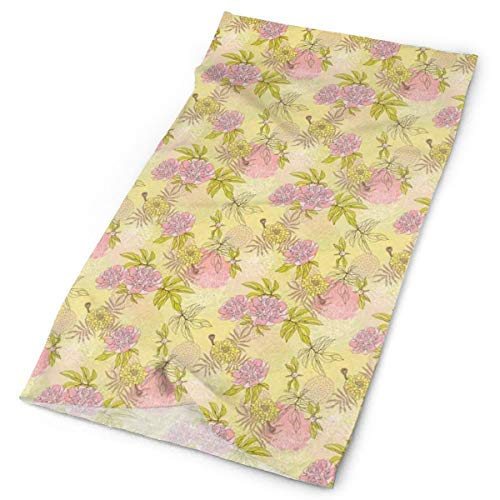 GUUi Headwear Headband Head Scarf Wrap Sweatband,Tender Beauty of Spring Nature Theme with Hand Drawn Peony Blossoms and Buds,Sport Headscarves for Me