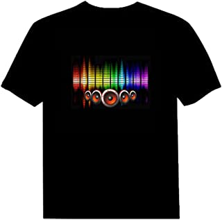 Pawant Adult Couples Audio Control LED Flashing Night Club Wear Cotton T-Shirt Baby S