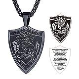 FaithHeart Saint Michael Pendant Necklace, St. Michael The Archangel Necklace Jewelry (Shield/Black)