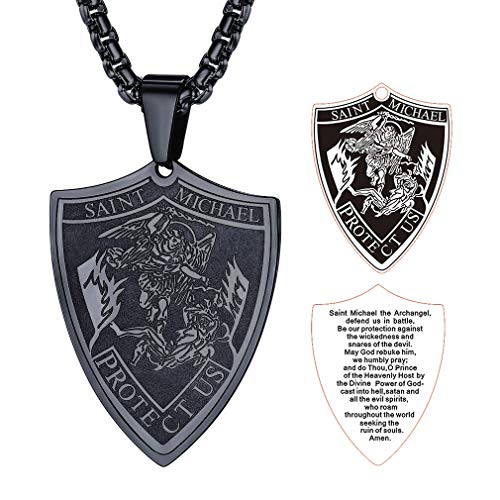 FaithHeart Inspirational Pendant Necklace, Stainless Steel Saint Michael Black Pendant Necklace, Mens Necklace St Michael Protect Us Jewelry- Black