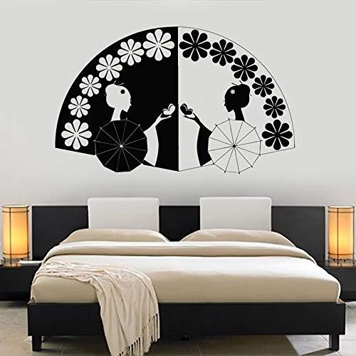 ONETOTOP Geisha Ventilateur Asiatique Stickers Muraux pour Art Décor Salon Chambre Oriental Vinyle Home Affiche Windows Autocollant Peintures Murales 70 * 42 cm
