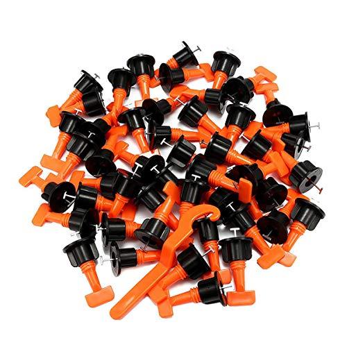 Juego de 50 piezas reutilizables, para baldosas o baldosas, base de cerámica, para pared, azulejos, sistema de nivelación de baldosas, clips de posicionamiento, herramienta auxiliar