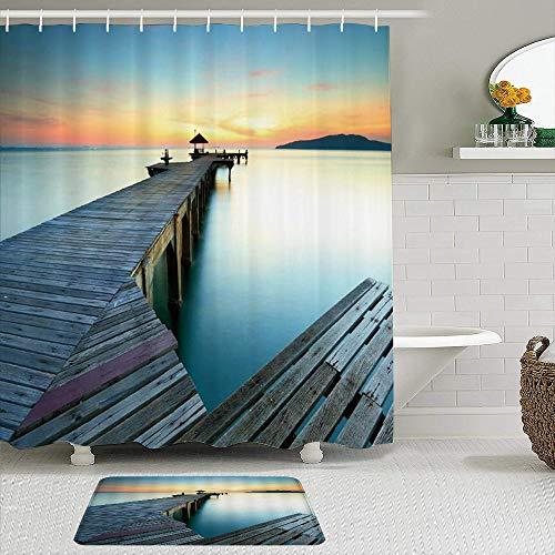 Juego de cortinas de ducha de 2 piezas con alfombra de baño antideslizante,Puente Madera Naturaleza Paisaje Lago Atardecer Pabellón Montaña Lejana Azul N,12 ganchos,Decoración de baño personalizada