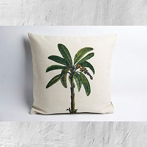 Lplpol Canvas Pillow Cover Palm Tree Decorative Pillow Cover Tropical Decor Cushion Cover 24 x 24 Inch for Living Room,Couch and Bed