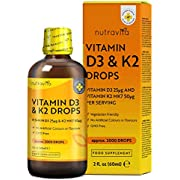 Vitamin D3 1000iu and K2 MK7 50mcg Drops - 2,000 Vegetarian Drops of Vitamin D3 and K2 per Bottle - Contributes to Maintenance of Normal Bones, Teeth and Immune System - Made in The UK by Nutravita