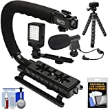 Vidpro VB-12 Stabilizer Hand Grip for DSLR Cameras, Video Camcorders & Action Cameras with Microphone + Flex Tripod + Kit