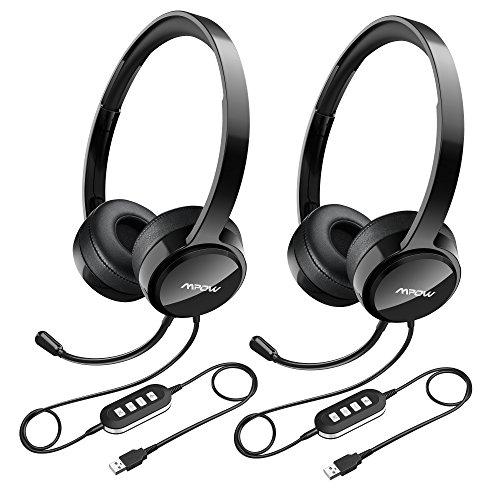 Mpow Auriculares 2 Unidades con Micrófono y Cable de 2,4 Metros, Auriculares USB con Sonido de Reducción de Ruido, Manos Libres, Orejeras de Memoria de Proteínas para Officina Xbox, VoIP, Skype