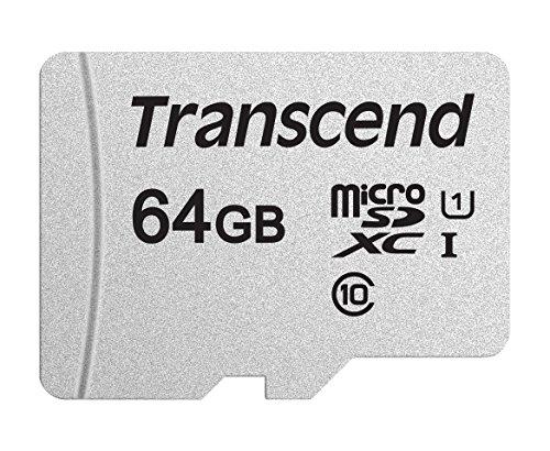 Transcend Highspeed 64GB micro SDXC/SDHC Speicherkarte (für Smartphones, etc. und Digitalkameras) / 4K, Class 10, UHS-I, A1 – TS64GUSD300S