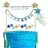 iZoeL Tortendeko Happy Birthday Girlande Geburtstag Wimpelkette + Glänzend Sterne Cake Topper (Blau)