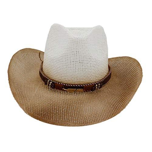 Sannysis Herren Cowboy Hut Bogarthut Sonnehut Strohhut Western OneSize Cowboyhut Westernhut Sommerhut Straw Stroh Sonnenhut Weiß
