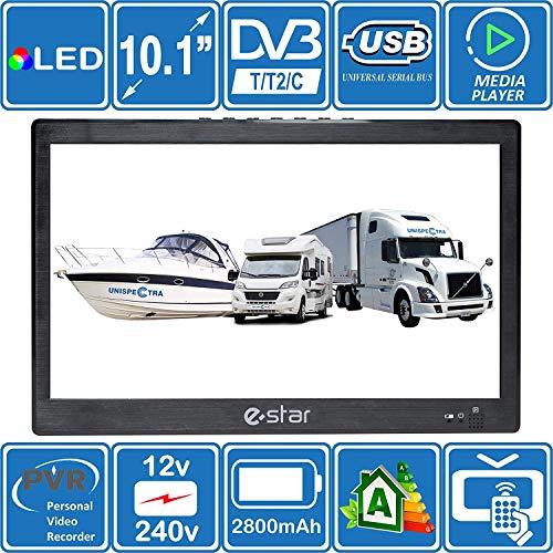 Estar 10 inch 26 centimeter draagbare HD TV DVB-T2-tv met USB PVR en mediaspeler. 12 V/240 V/werkt op batterijen. Ideaal voor campers, caravans, campers, boot en keuken, BBQ van OnSaCo®.
