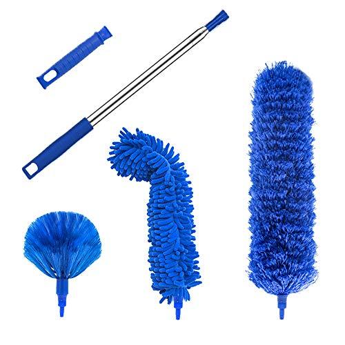 Plumero de microfibra, plumero de plumas con barra de extensión telescópica de 100 pulgadas, plumeros reutilizables doblables, lavables, ligeros plumeros para ventiladores de techos