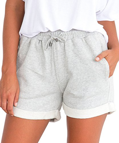 Tengo Women Summer Beach Shorts Juniors Folded Hem Shorts with Drawstring(Grey,S)