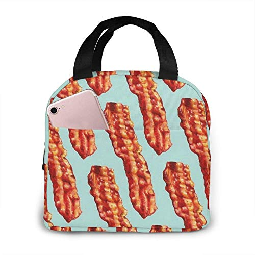 Bacon Pattern Insulated Lunch Bag, Big Capacity Lunch Cooler Tote Bag for Outdoor Picnic School Office Work, Portable Lunc