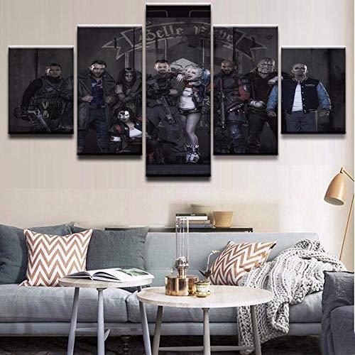 Decoración del hogar Lienzo Pintura 5 Piezas Payaso Chica HD Impresiones película Pared Arte Sala de Estar Modular Imagen Creativa póster artístico