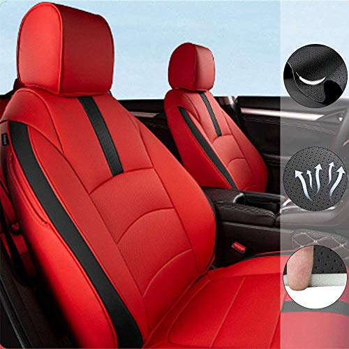 Custom Full Set Seat Covers for Ford Mustang 2015-2019 Leather Car Seat Cushion Protector Red-Black