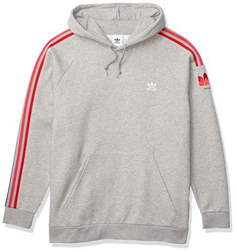 adidas Originals mens 3D Trefoil 3-Stripe Sweat Hoodie Medium Grey Heather Medium