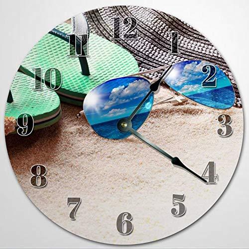 Reloj de pared con gafas de sol y deslizadores, de madera, de 30,5 cm, funciona con pilas, decoración de pared de granja, decoración del hogar