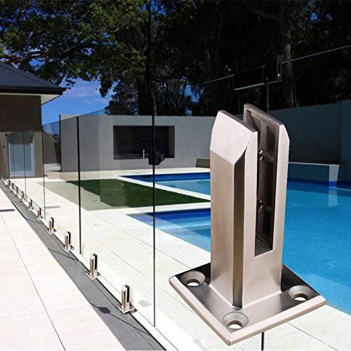 jinclonder Pool Edelstahl Glaszaun Klammer, Glasplattenpfosten Balkon Glasboden Klammer Swimmingpool Glasclip Boden Glas örtlich festgelegte Befestigungen für Hausgarten Treppen Geländer
