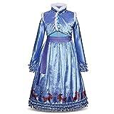 Disfraz de princesa Elsa de Frozen, Anna largo, vestido de fiesta, cosplay, festival, carnaval, dama de honor, maxi fiesta de cumpleaños, fantasía, vestido de boda Azul 1 5-6 Años