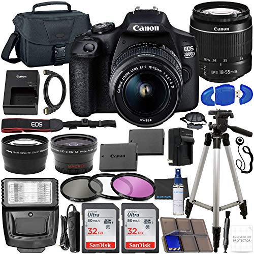 Canon EOS 2000D (Rebel T7) DSLR Camera with EF-S...