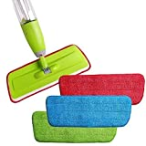 Horoly 3 Pcs Reusable Microfiber Spray Mop Replacement Head Pads Floor Cleaning Cloth Household Cleaning Mop Accessories - Set of 3 (Multi Color)