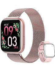 AIMIUVEI Smartwatch voor dames, fitnesspolshorloge, Full Touch, 1,4 inch, hartslagmeter, bloeddruk, stappenteller, calorieënteller, meldingen, smartwatch IP67 voor Android iOS roze