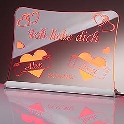 """LED Acrylglas Schild""""Ich liebe dich"""", 20x15 cm, mit persönlicher Laser Gravur (rot)"""