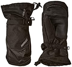 Durable polyester shell with mini-ripstop trim; textured palm and thumb for enhanced grip; genuine leather finger area Waterproof, windproof, and breathable Gore-Tex insert Megaloft synthetic insulation Moisture-wicking lining Gauntlet cuff with draw...