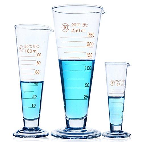 Messbecher konisch Messbecher konisch, Glas Labor Skala Messbecher Lebensmittelqualität Glas Milch Saft Labor Becher Tasse 5ml–2000ml 100 ml durchsichtig