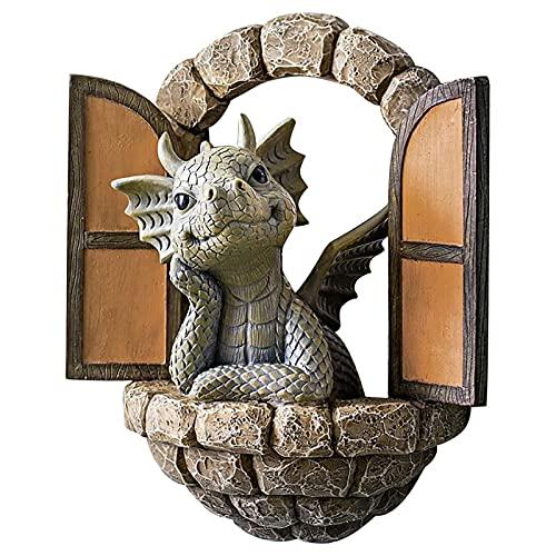 crazerop Escultura decorativa de dragón para jardín, decoración de jardín, para terraza, balcón, patio
