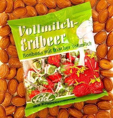 Vollmilch-Erdbeere gefüllt 125 g Beutel Edel-Bonbon