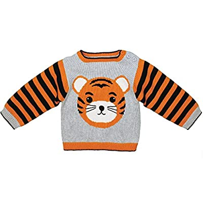 Zubels Baby Hand-Knit Cotton Tiger Sweater, All-Natural Fibers, 9 Months, Orange