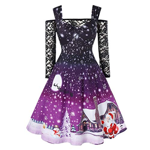 LOPILY Weihnachtskleid Damen Schulterfrei Spitzenkleider mit Schneeflocken Elegant Abendkleider mit Santa Claus Plus Size Weihnachten Kleider für MolligeWinter Beiläufig Blusenkleid (Lila, S)