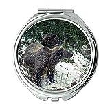 Mirror,Compact Mirror,animals bears cold,pocket mirror,portable mirror