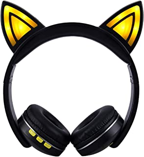 Wireless Bluetooth Headset Over-Ear Headphones/Illuminated/Adjustable Headband/Foldable Headset/Subwoofer Stereo - Built-in Microphone/3.5mm Audio Port - for Mobile/PC/IPad/Travel, Sport