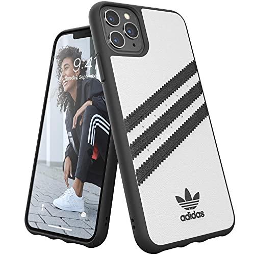adidas Originals Compatible con iPhone 11 Pro MAX Case Carcasa Carcasa de TPU Moldeado Tres Rayas - Blanco Negro