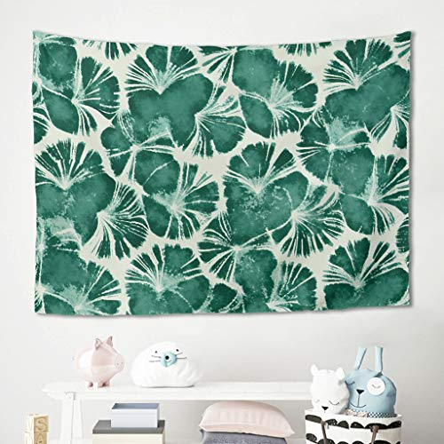 Niersensea Tapiz de pared para colgar en la pared, diseño de acuarela, hojas verdes, flores, picnic, playa, tapiz, habitación de los niños, cama, dormitorio, manta blanca, 230 x 150 cm