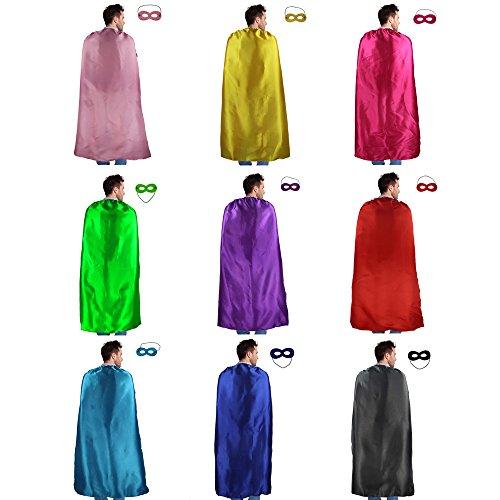 iROLEWIN 10 Stück Superhelden Umhang & Augen Maske Verrücktes Kleid Kostüme für Männer & Frauen Partyzubehör(110 cm)