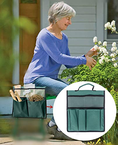 "COCO Garden Kneeler Tool Bag Stool Pouch Seat Storage Tote Hanging Organizer 600D Waterproof Portable for Outdoor Gardening 12"" x 13"" Green NOT Include Kneeler"