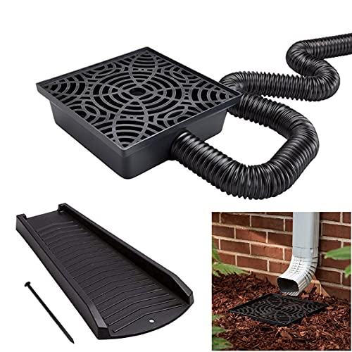 12-in. No Dig Low Profile Catch Basin Downspout Extension with Splash Block Combo Kit, Black