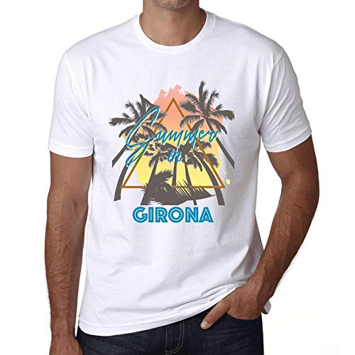 One in the City Hombre Camiseta Vintage T-Shirt Gráfico Summer Triangle Girona Blanco