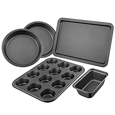Deik Bakeware Set, Nonstick Cookie Sheet, Baking Pan Set 5 Pieces, Dishwasher and Oven Safe up to 500℉, High Carbon Steel Loaf Pan with Non-Stick Easy Food Release Coating