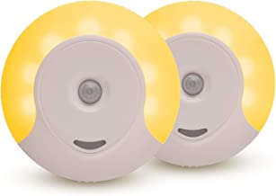Sleep Aid Amber LED Motion Sensor Night Light Plug in for Bedroom with Dusk to Dawn Motion Activated Auto Sensor, Promotes Melatonin Production and Healthy Sleep, ON-Off-Auto Toggle, 2-Pack
